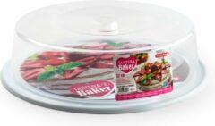Forte Plastics Witte ronde taart bewaardoos 32 x 9,5 cm - Keukenbenodigdheden - Taart bewaarbak - Taarten/vlaaien serveren/bewaren in doos