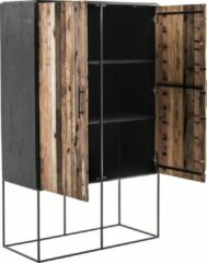 Bruine Nova Solo Rustika vitrinekast met 2 deuren, rustiek boothout & zwart.