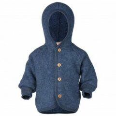 Engel - Kinder Kapuzenjacke mit Holzknöpfen - Wollen jack maat 62 / 68, blauw