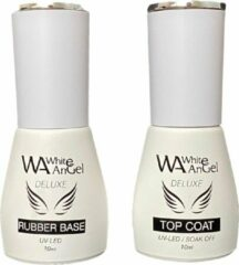Transparante Gellex White Angel Gellex Rubber Base Coat 10ml & Rubber Top Coat 10ml, Gel in Bottle, Gel Nagellak Led/UV Gellak Set