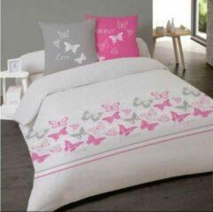 Roze Better Nights 2-Persoons Dekbedovertrek katoen Butterflies 240x220 met 2 kussenslopen 65x65