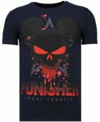 Blauwe Local Fanatic Punisher Mickey - Rhinestone T-shirt - Navy - Maten: XL