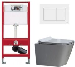 Douche Concurrent Tece Toiletset - Inbouw WC Hangtoilet wandcloset - Alexandria Flatline Rimfree Tece Now Wit