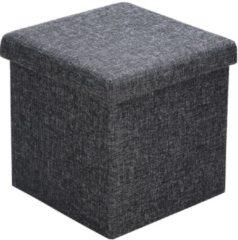 Merkloos / Sans marque Poef, hocker, donkergrijs 38x38x38 cm, zitbank met opbergsysteem, opvouwbaar