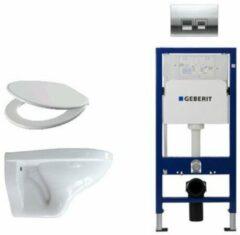 Witte Adema Classico toiletset bestaande uit inbouwreservoir en toiletpot, basic toiletzitting en Delta 50 bedieningsplaat chroom SW8447