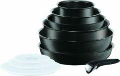 TEFAL INGENIO PRESTATIES Pannenset 10 stuks L6549302 16-20-22-24-26cm Alle warmtebronnen inclusief inductie - Zwart
