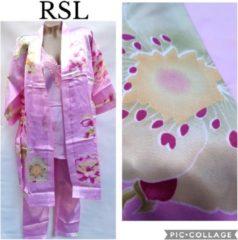 Merkloos / Sans marque Dames satijn pyjama set 3 delige met kimono XXL 42-44 roze
