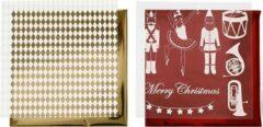 PacklinQ Deco folie en transfer vel. vel 15x15 cm. wit. goud. rood. notenkraker. kerstman en ballerina. 4vellen [HOB-25334]