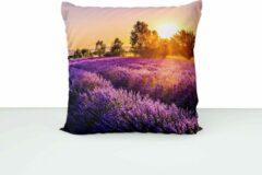 Paarse ByCristianne Kussenhoes - Lavendelveld - Zonsondergang - Woon accessoire - 60 x 60 cm
