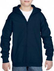 Blauwe Gildan Navy capuchon vest voor jongens - maat M (140-152)