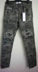 Nena & Pasadena Combination Slim Biker Jeans - Kleur Camouflage Groen - Maat 31