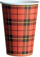 Rode Bestonlineshop Kartonnen koffiebeker Schotse ruit 180cc / 7oz - 60 stuks - koffie bekers - wegwerp papieren bekers - drank bekers - feest bekers - milieuvriendelijk