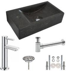 Douche Concurrent Fonteinset Natura Rechthoek Links 40x22x10cm Hardsteen Antraciet Chroom Toiletkraan Sifon Plug Bevestigingsset