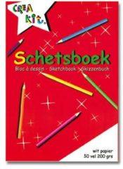 CreaKit Crea-kit Schetsblok Junior A5 Papier Wit 50 Vellen