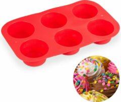 Rode Relaxdays muffin bakvorm - siliconen - muffinvorm - cupcake vormpjes - 6 stuks