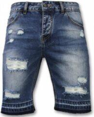 Enos Korte Broeken Heren - Slim Fit Ripped Shorts - Blauw Korte Broek Short Jeans Maat W28