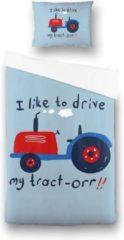 Witte Fresh&Co  Kids Fresh&Co Kids - Eenpersoons Dekbedovertrek Tractor 140x200 cm - Katoen - Dekbedovertrek met kussensloop