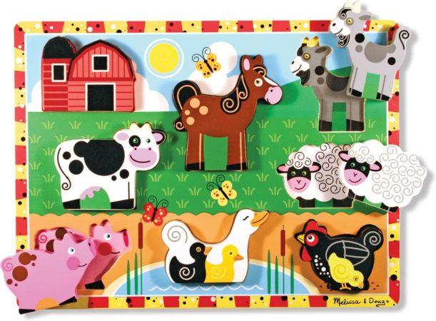 Afbeelding van Melissa & Doug Chunky boerderij dieren houten vormenpuzzel 7 stukjes