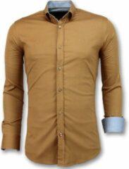 Tony Backer Italiaanse Blanco Overhemden Heren - Slim Fit - 3033 - Bruin Casual overhemden heren Heren Overhemd Maat XL