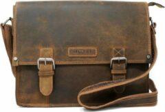 Hillburry buffel leer / vintage leer aktetas - lederen laptoptas - werktas - donker bruin - Unisex