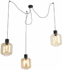 Beige QAZQA Design hanglamp zwart met amber glas 3-lichts 226 cm - Qara