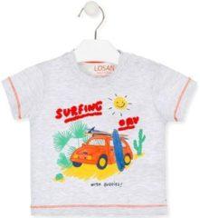Grijze T-shirt Korte Mouw Losan 017-1015AL