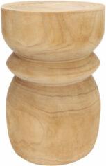 Naturelkleurige WOOOD Krukje 'Bikkel', kleur Naturel, Ø28cm