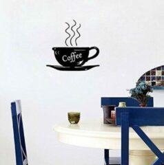 Zwarte Leukste Koop Mooie muursticker met koffie kopje