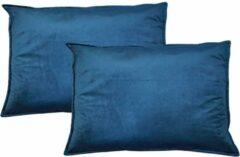 Kussoo Sierkussen Fluweel Indigo Blauw 40x60 cm Set van 2 kussens