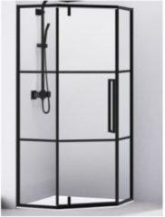 Douchecabine Van Rijn Vijfhoek Aluminium Zwart 100x200 Dubbelzijdige Nanocoating 6 mm Helder Glas