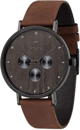 Afbeelding van Kerbholz Caspar Heritage - Wood Tobacco horloge heren - bruin - edelstaal PVD zwart