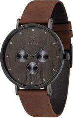 Kerbholz Caspar Heritage - Wood Tobacco horloge heren - bruin - edelstaal PVD zwart