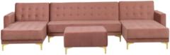 Beliani Hoekbank met ottomaan fluweel roze u-vormig ABERDEEN