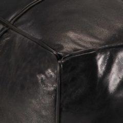 VidaXL Poef 60x60x30 cm echt geitenleer zwart
