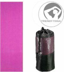 Paarse Trendy sport Trendy Yogamat Toalha Handdoek - Yoga mat - Fitnessmat - wasbaar - 183 cm lang x 63 cm breed x 2 mm dik - Violet - incl. draagtas