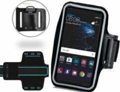 Zwart Universele Spatwaterdichte Sportarmband voor Huawei P8 P9 P10 Lite en Sony Xperia XZ XZs XA Z5 en HTC 10 one M9 - Hardloop 5.5 inch Sport Armband (Apple iPhone, Samsung, LG) - Waterproof / Waterdichte Case / Hoesje