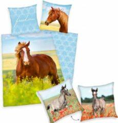 Groene Herding Dekbedovertrek Paard, 140 x 200 cm, Paard in bloemenwei , Dekbed eenpersoons - incl. sierkussen Veulen 40x40 cm