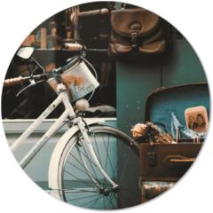 Beige Label2X Muurcirkel klein vintage - Ø 20 cm - Forex (binnen)
