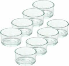 Transparante Trend Candles 8x Theelichthouders/waxinelichthouders van glas 4,2 x 3 cm - Glazen kaarsenhouders - Woondecoraties