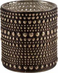 Cosy and Trendy Theelichthouders/waxinelichthouders Glas Bruin 10 Cm - Stippel Motief - Windlichtjes/kaarsenhouders