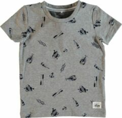 Licht-grijze Name it Meisjes T-shirt - Grey Melange - Maat 80