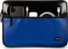 UNBEGUN MacBook Pro 13 inch case met voorvak (van gerecycled materiaal) - Zwart/blauwe laptop sleeve voor nieuwe MacBook Pro 13.3 inch (2016/2017/2018/2019/2020)