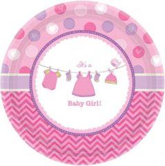 Roze Merkloos / Sans marque Geboorte meisje bordjes baby girl