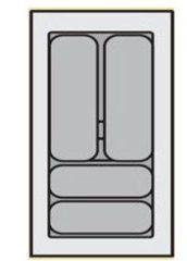 """Zilveren """"""""""""""""""""""""""""Bestekbak Organiser universeel inzetbaar, 251 - 300 mm breed, 441 - 520 mm diep."""""""""""""""""""""""""""""""