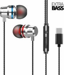 Grijze DrPhone - SoundLUX - In-Ear Bedrade Oordoppen met USB-C Aansluiting - Earbuds - Hoge BASS - Metal Grey