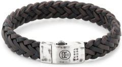 Rebel & Rose Rebel and Rose RR-L0075-S Armband Braided Raw Matt Black-Earth leder/zilver 13 mm zwart-bruin M 19,5 cm