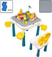 Decopatent® - Kindertafel met 1 Stoeltje - Speeltafel met bouwplaat en vlakke kant - 4 Bakjes - Geschikt voor Duplo® Bouwstenen