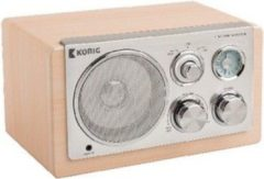 König Konig Retro tafelradio Beige AM/ FM Radio 3Watt speaker en AUX ingang