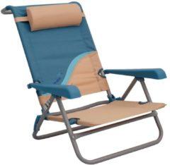 Strandstuhl merfach verstellbare Rückenlehne Strandliege Klappstuhl Anglerstuhl Campingstuhl Meerweh beige/blau