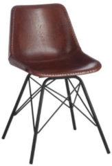J-Line Stoel Loft Leder/Metaal Donker Bruin/Zwart